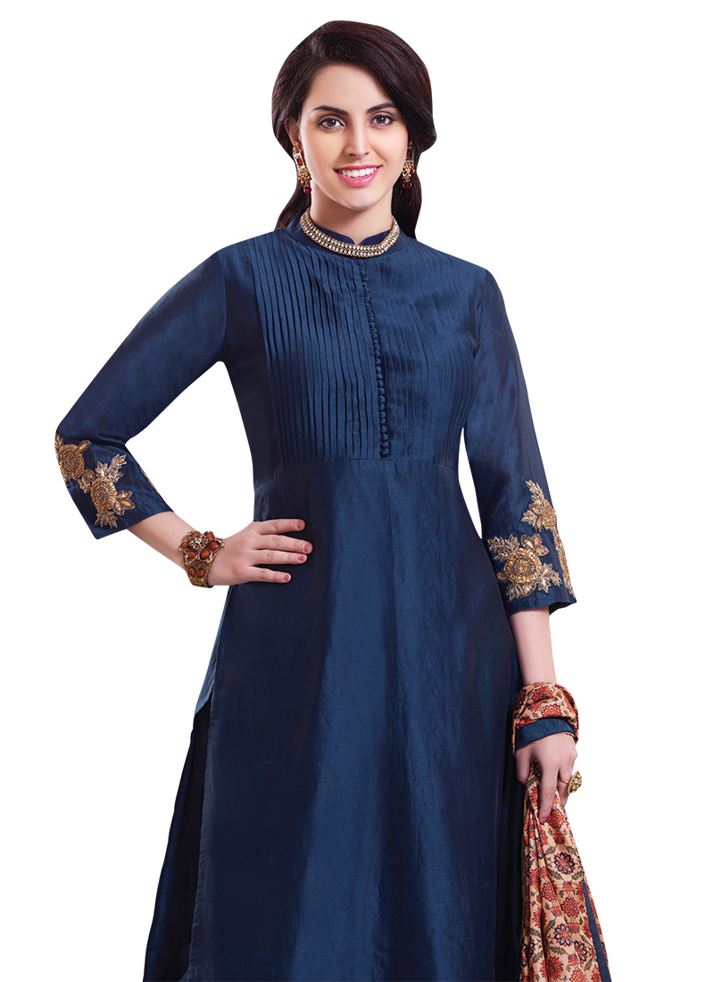 Buy Navy Blue Chanderi Pure Silk Palazzo Suit, palazzo-suit Online ...