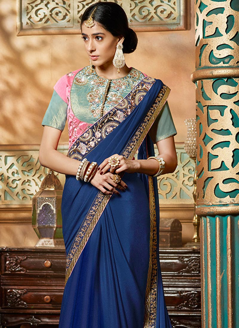 Buy Navy Blue Crepe Border Saree Embroidered Sari Online