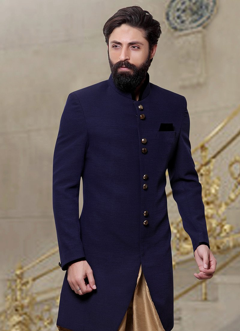 Buy navy blue dhoti style indo western sherwani eid What is style