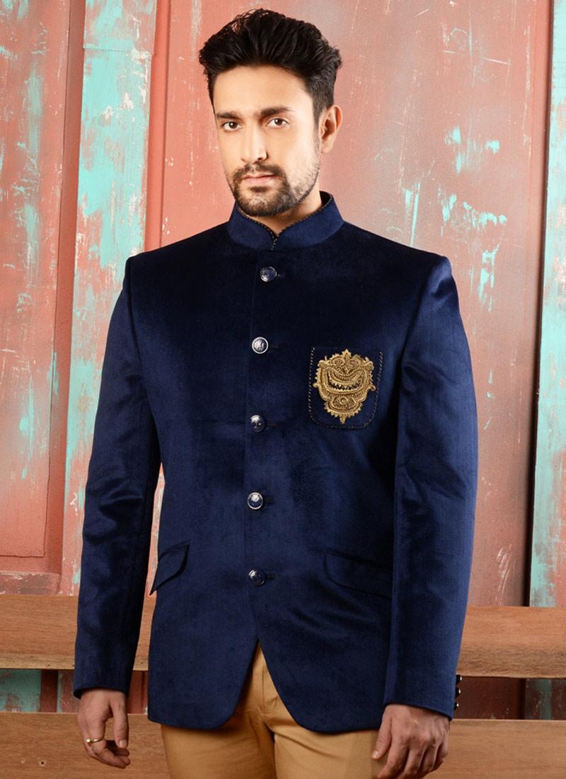buy navy blue velvet bandhgala jacket embroidered bandhgala jacket online shopping jmkmarc3255. Black Bedroom Furniture Sets. Home Design Ideas