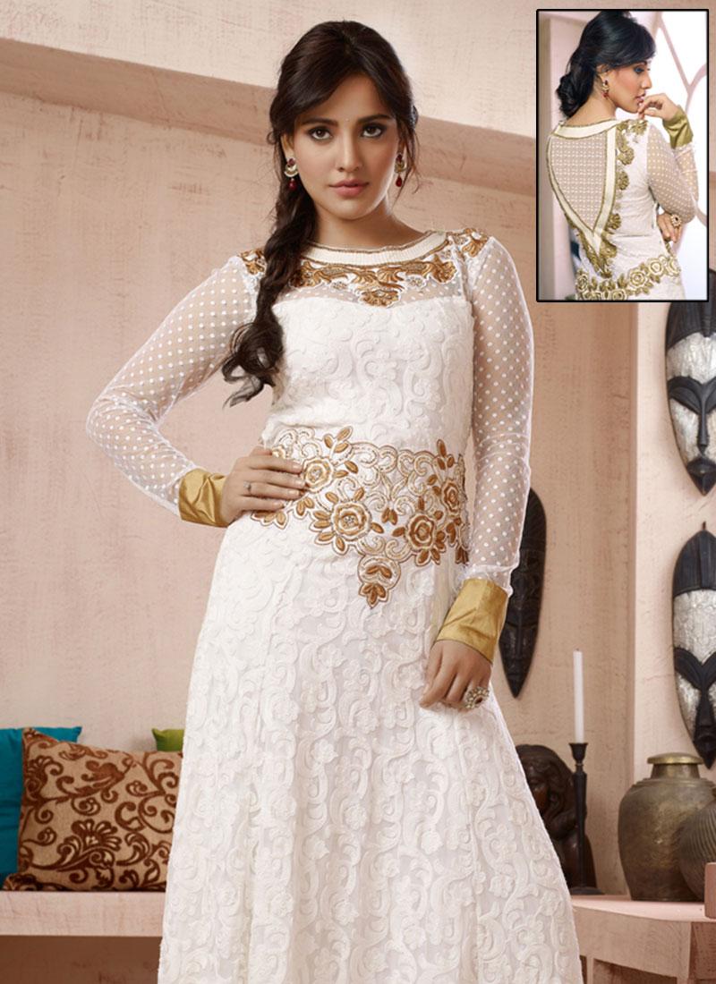 Buy Neha Sharma White Anarkali Suit, Embroidered, anarkali suit ...