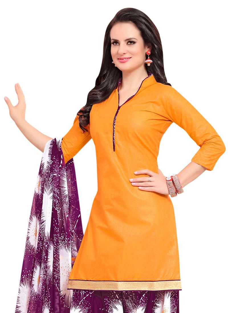 Buy Orange Blended Cotton Patiala Suit After Six Patiala