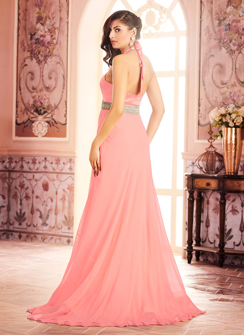Buy Pink Satin Anarkali Gown, Stones , Embroidered, dresses and gown ...