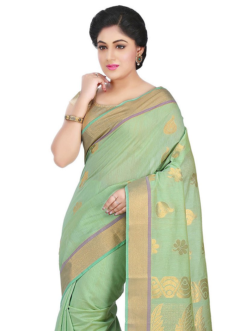 Buy Pista Green Blended Cotton Saree Sari Online Shopping