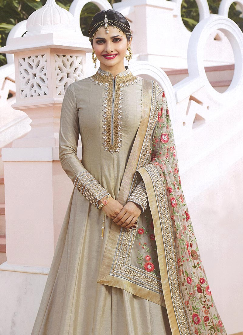 de6633854e Buy Prachi Desai Grey Embroidered Anarkali suit, Embroidered ...