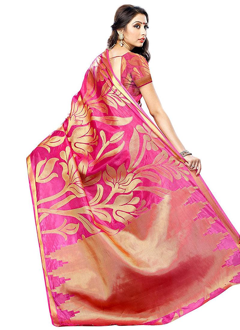 Buy Rani Pink Kancheepuram Art Silk Saree Kancheepuram