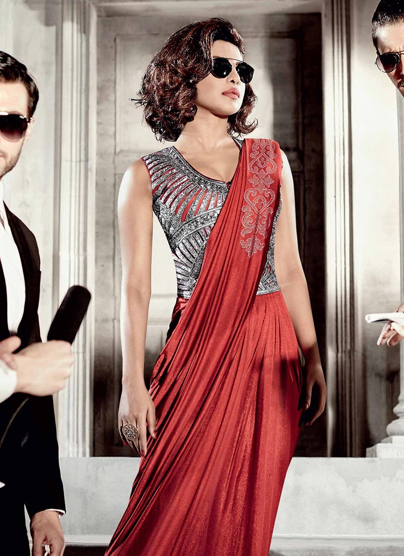 Buy Red Priyanka Chopra Saree Gown, Party, dresses and gown Online ...