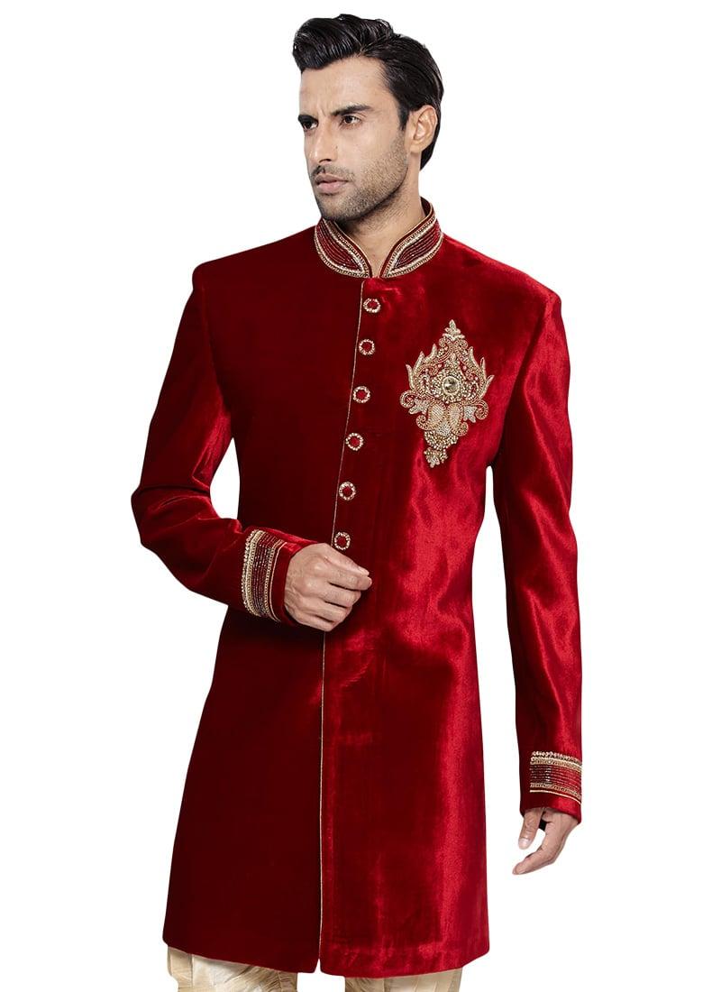 Buy Red N Beige Velvet Breeches Style Sherwani Zardosi
