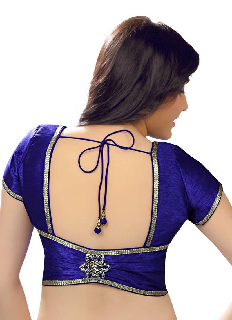 Buy Royal Blue Art Dupion Silk Blouse Blouse Online