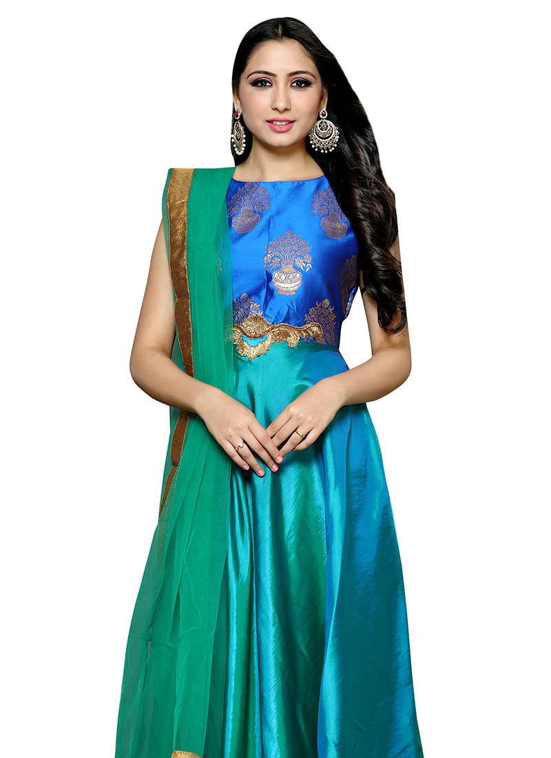 Buy Royal Blue N Green Art Silk Anarkali Suit, Zari , Embroidered ...