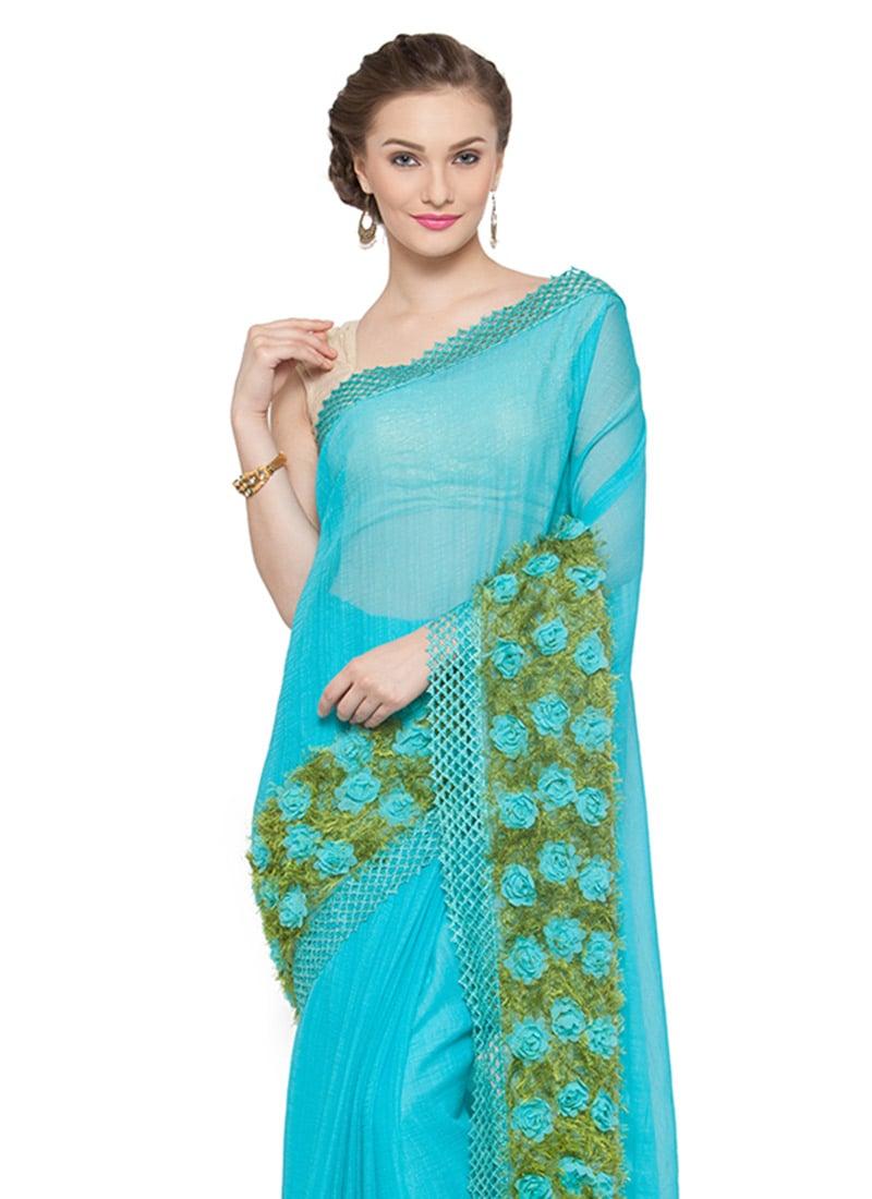 buy sky blue chiffon saree embroidered sari online shopping saskvssr63rv. Black Bedroom Furniture Sets. Home Design Ideas