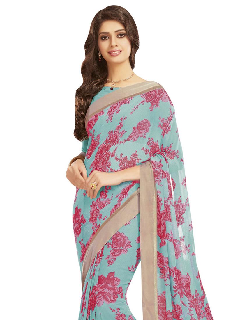 buy sky blue georgette saree sari online shopping sacvp9159. Black Bedroom Furniture Sets. Home Design Ideas
