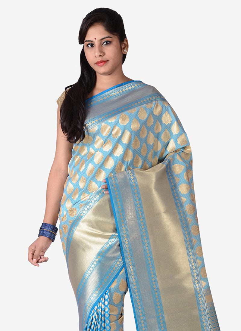 buy sky blue benarasi silk saree sari online shopping saknasns116. Black Bedroom Furniture Sets. Home Design Ideas