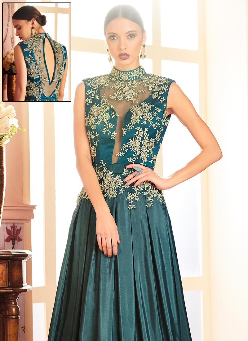 Buy Teal Green Anarkali Gown, Embroidered, dresses and gown Online ...