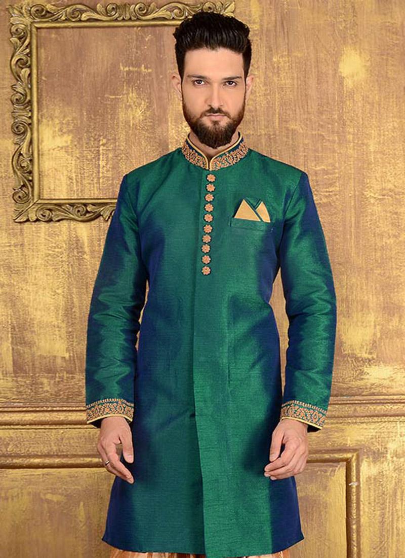Buy Teal Green Art Benarasi Silk Indowestern Sherwani, Benarasi ...