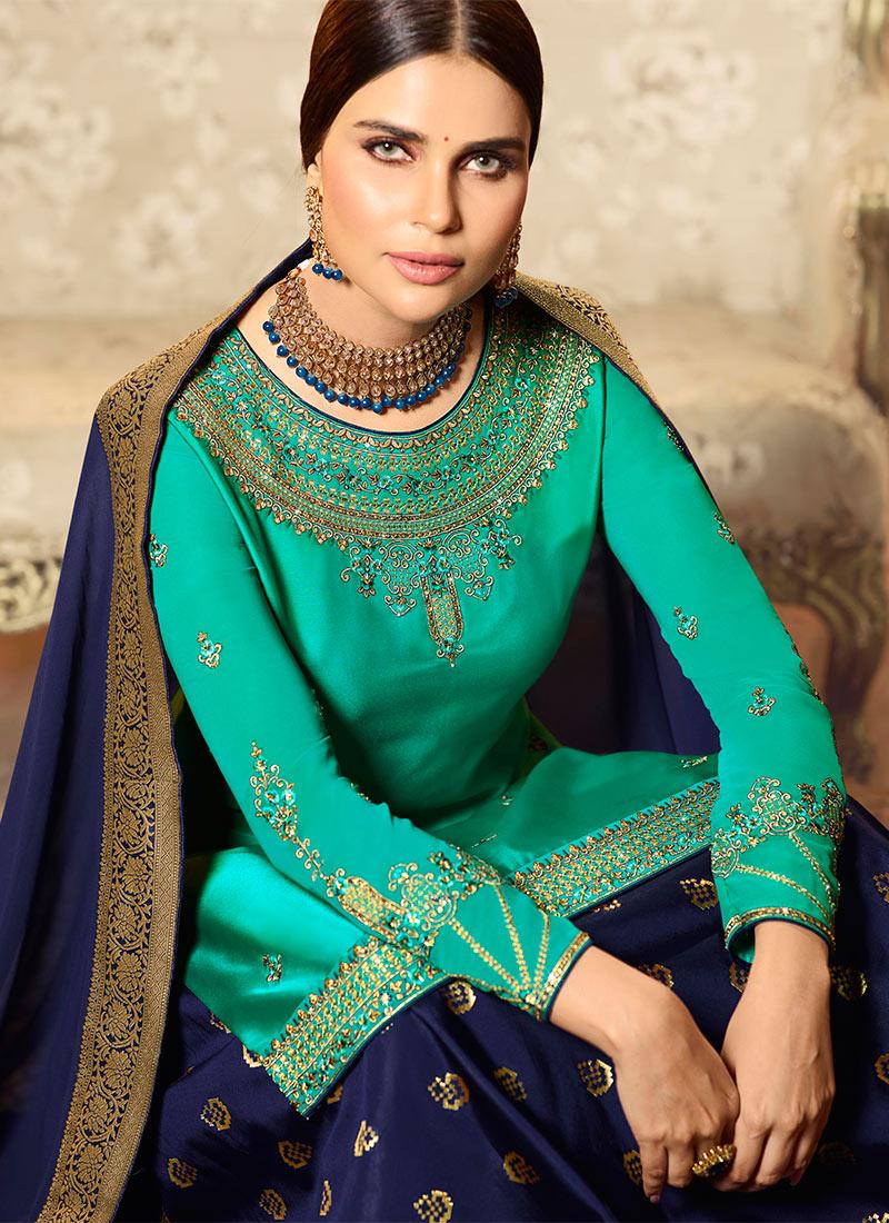 7b99f98244 Buy Turquoise Embroidered Long Choli Lehenga, Embroidered, a line ...