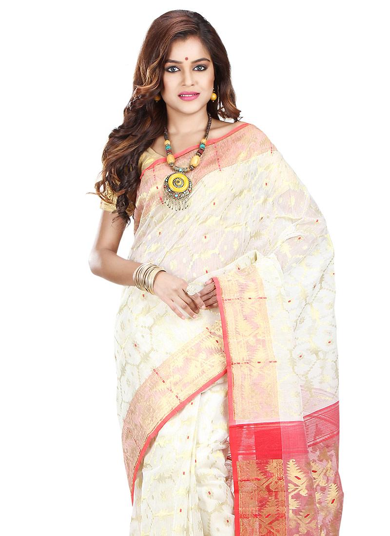 f2bf0c420 Buy White Art Silk Cotton Saree