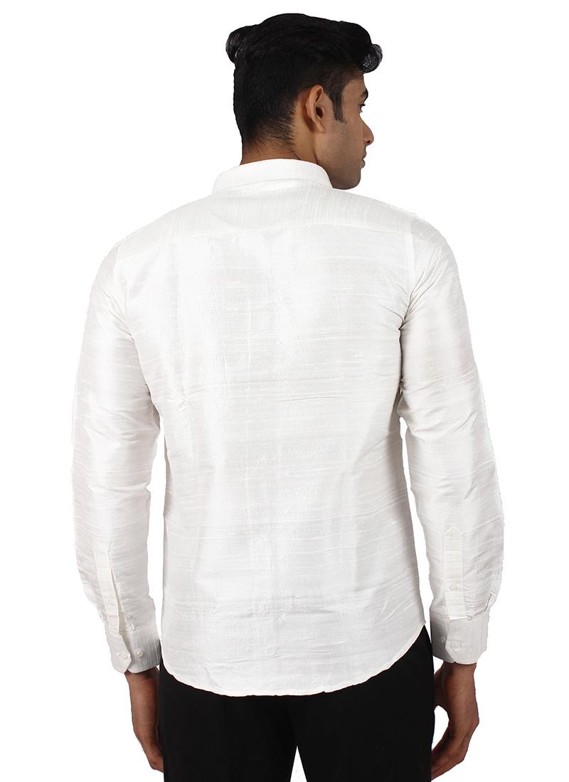 Buy White Pure Dupion Silk Shirt Art Silk Shirt Online