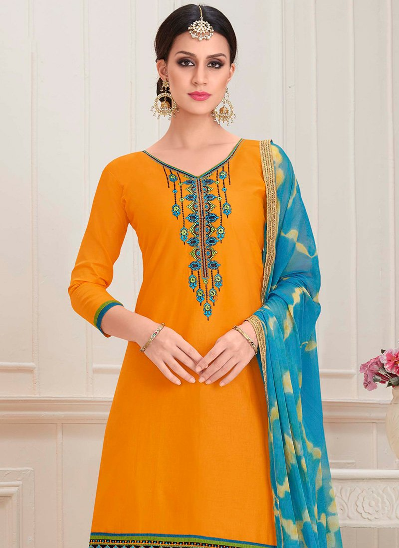 9732b10cf6 Buy Yellow Blended Cotton Patiala Suit, Embroidered, salwar suit ...