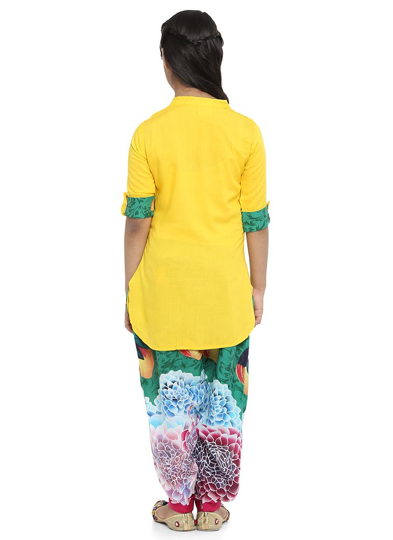 e0707a9a7a Buy Yellow Plain Girls Salwar Set, Printed, girls salwar kameez ...