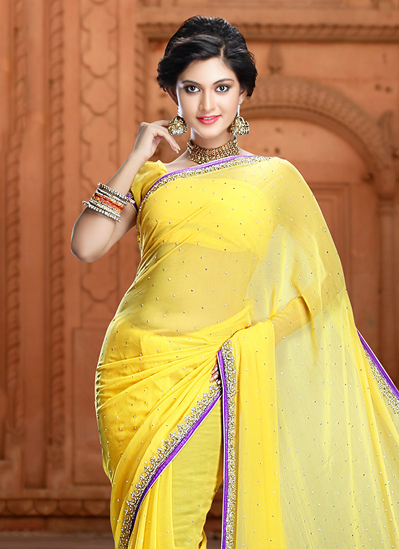 Buy Yellow Pure Chiffon Saree Stones Sari Online
