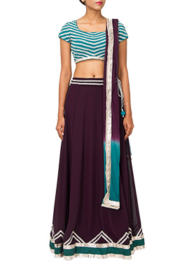 PRDP Inspired Deep Purple Georgette Lehenga Choli