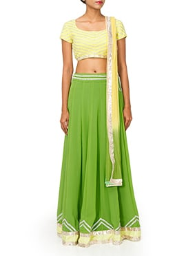 PRDP Inspired Green Georgette Lehenga Choli