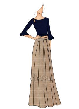 A Box Pleated Beige Skirt Set