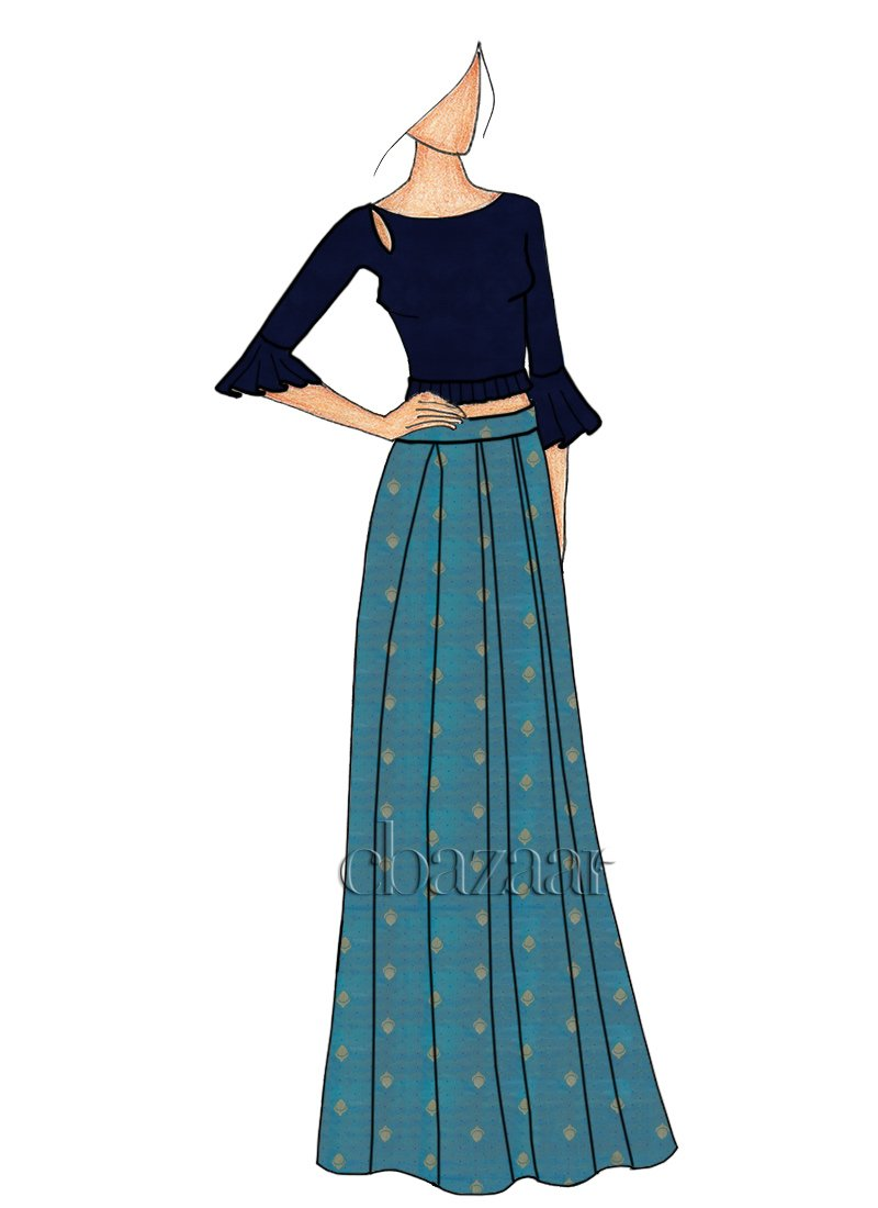 Buy A Box Pleated Aqua Blue Skirt Set Party Indowestern