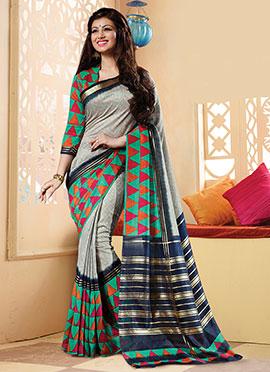 Printed Ayesha Takia Grey N Multicolored Saree