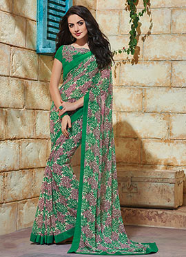 Printed Floral Tricolored Saree