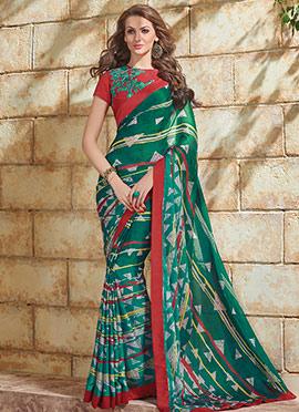 Printed Green Saree