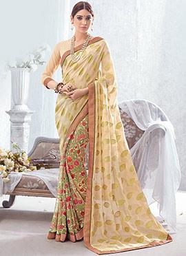 Printed N Zari Woven Cream N Green Half N Half Saree
