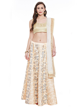 Printed Off White Bhagalpuri Dupion Umbrella Lehanga choli