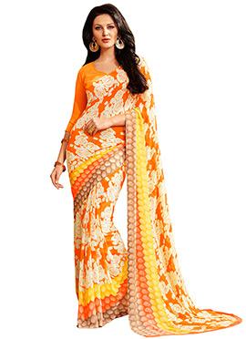 Printed Orange N White Georgette Saree