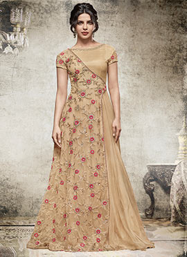 Priyanka Chopra Beige Floor Length Anarkali Suit