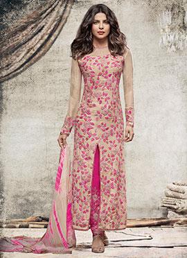 Priyanka Chopra Beige N Pink Straight Pant Suit
