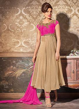 Priyanka Chopra Beige N Rani Pink Anarkali Suit
