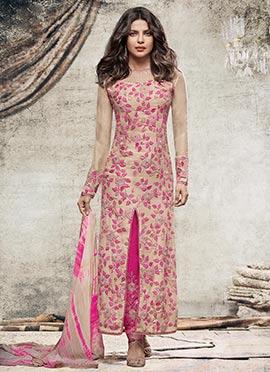 Priyanka Chopra Beige Side Slit Straight Pant Suit