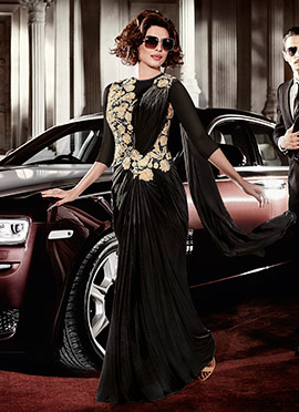 Priyanka Chopra Black Saree Gown