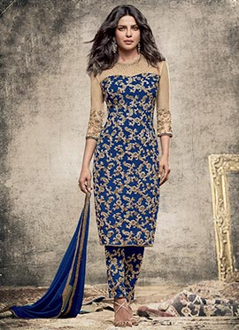 Priyanka Chopra Blue Georgette Straight Suit