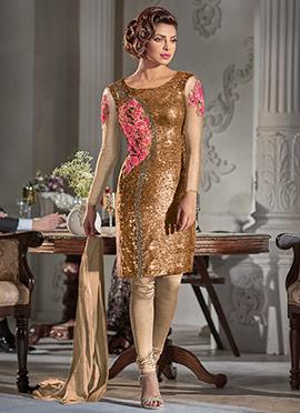 Priyanka Chopra Brown Churidar Suit