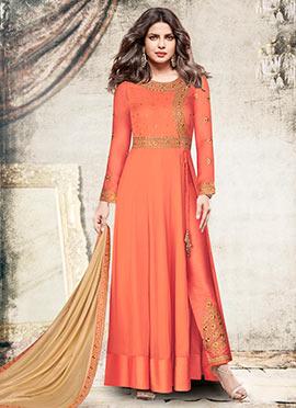 Priyanka Chopra Dark Peach Embroidered Anarkali Suit