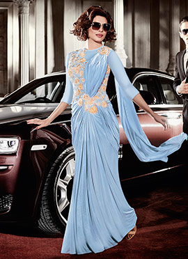 Priyanka Chopra Dusky Blue Saree Gown
