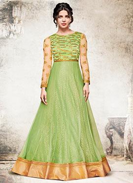 Priyanka Chopra Green Abaya Style Anarkali Suit