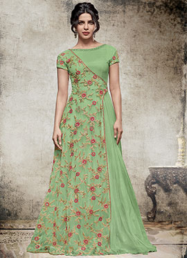 Priyanka Chopra Green Art Silk N Net Anarkali Gown