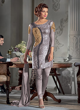 Priyanka Chopra Grey Embellished Churidar Suit