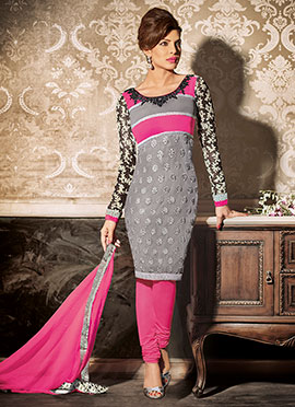 Priyanka Chopra Grey N Rani Pink Churidar Suit
