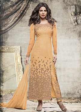Priyanka Chopra Light Orange Chiffon Straight Pant Suit