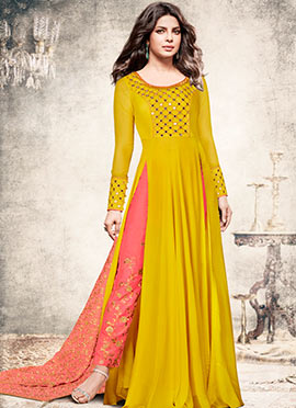 Priyanka Chopra Yellow Embroidered Anarkali Suit
